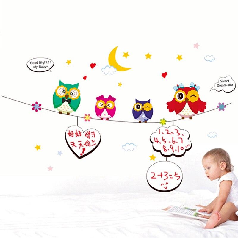Uşaq Uşaqları Divar Etiketləri Bayquşlar DIY Ev Dekorasiya Divar - Ev dekoru - Fotoqrafiya 4