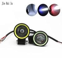 Motorbike Driving Fog Lamp Waterproof 10W LED Motorcycle Headlight Strong Light Strobe Spotlight Angel Eyes 12