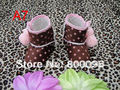 Lovely baby botas girls totem tela de algodón del tobillo punto marrón botas de color rosa en stock KP-BA7