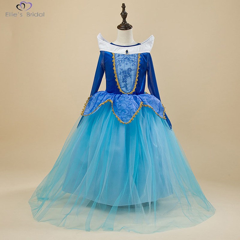 Ellies Bridal Aurora Princess Dress Girl Cosplay Costume Long Sleeve Girl Dress Party Dress Girl Christmas Gift Sleeping Beauty christmas cosplay costume lace up velvet cami dress