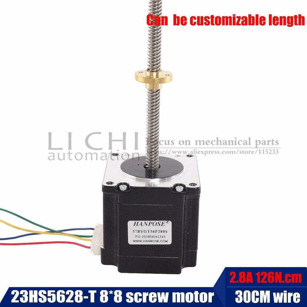 Nema23 Vis moteur pas à pas 23HS5628-T8x8-300MM avec écrou De Cuivre plomb 8mm pour CE ROSH ISO CNC Laser et 3D imprimante