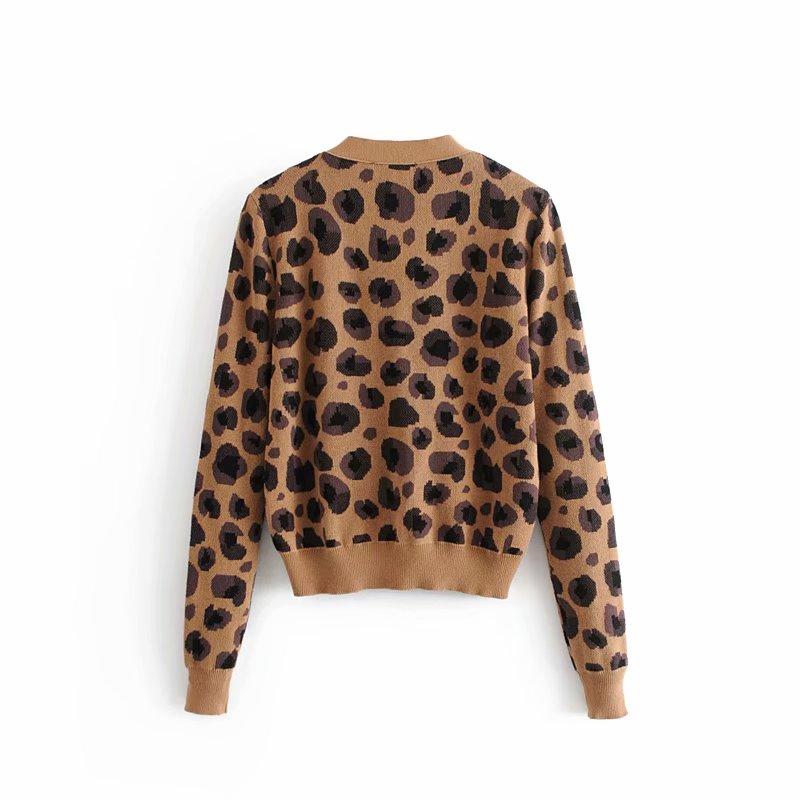 ea391e46f7fb26 Women Leopard Print Cardigans Sweater Long Sleeve Animal Print ...
