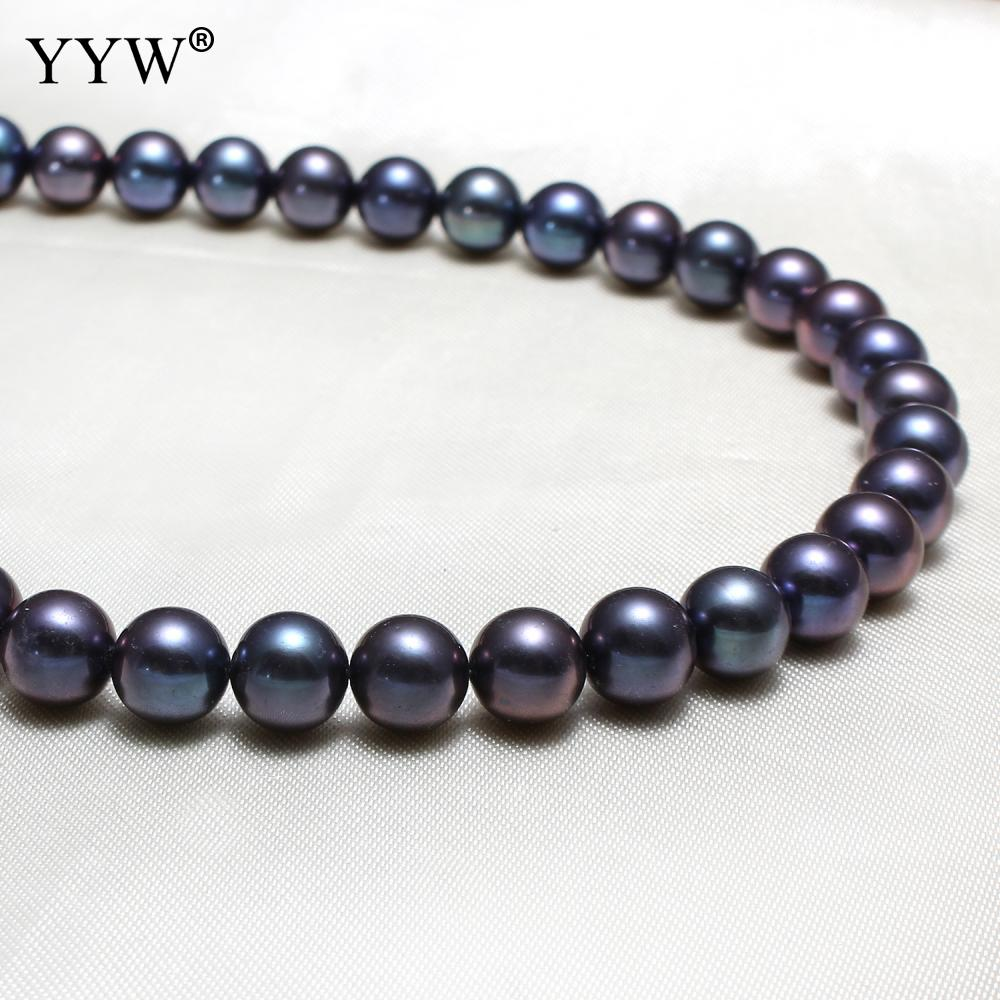 Black Cultured Round Freshwater Pearl Beads Grade Aaa 8 9mm Approx 0 8mm Sold Per Approx