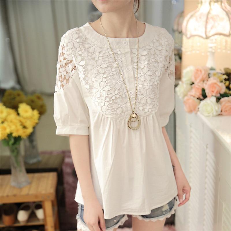 Élégant 25 White Lâche Taille Grande D'été Femmes Chemise Imprimée Mode Coton Chemises 59a Dentelle 2019 Blanc Pour Nouvelle Mignon Fleurs 6HwOqYU