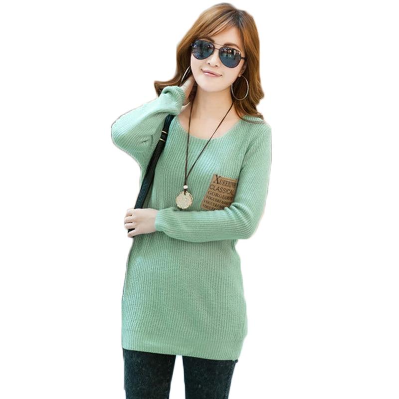 O-Neck pevné pletené ženy svetry a svetry plné dlouhý rukáv módní ženy svetr háčkování dres mujer 902S