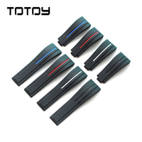 TOTOY Silicone Strap Applicable Yacht Famous Divers Ditona Ghost King Black and Green Water Gloves 20 21mm Rubber Strap, Fast De