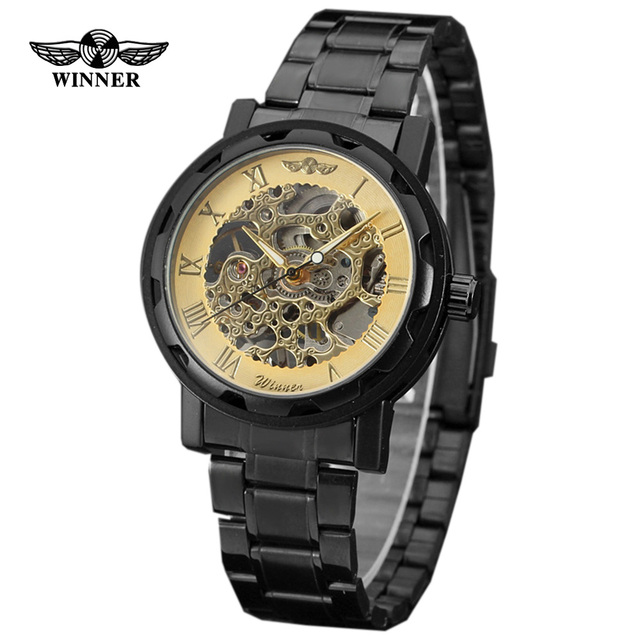 New 2016 Luxury Brand Winner Stainless Steel Mechanical Watch Men Skeleton Hand Wind  Mechanical Watch Men waterproof shockproof