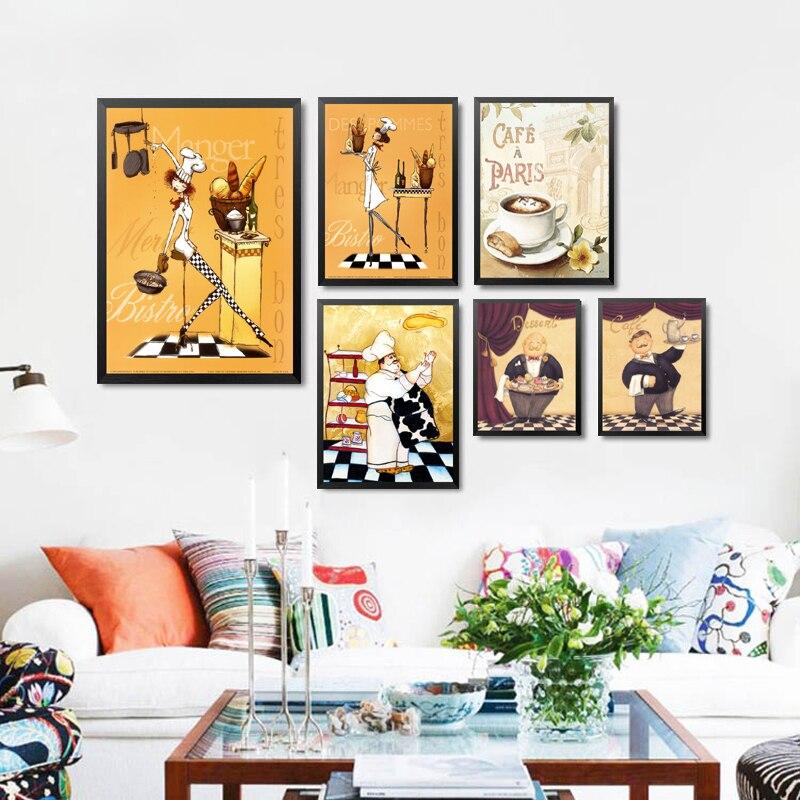 Frameless Modern Cartoon Chefs Canvas Prints Restaurant
