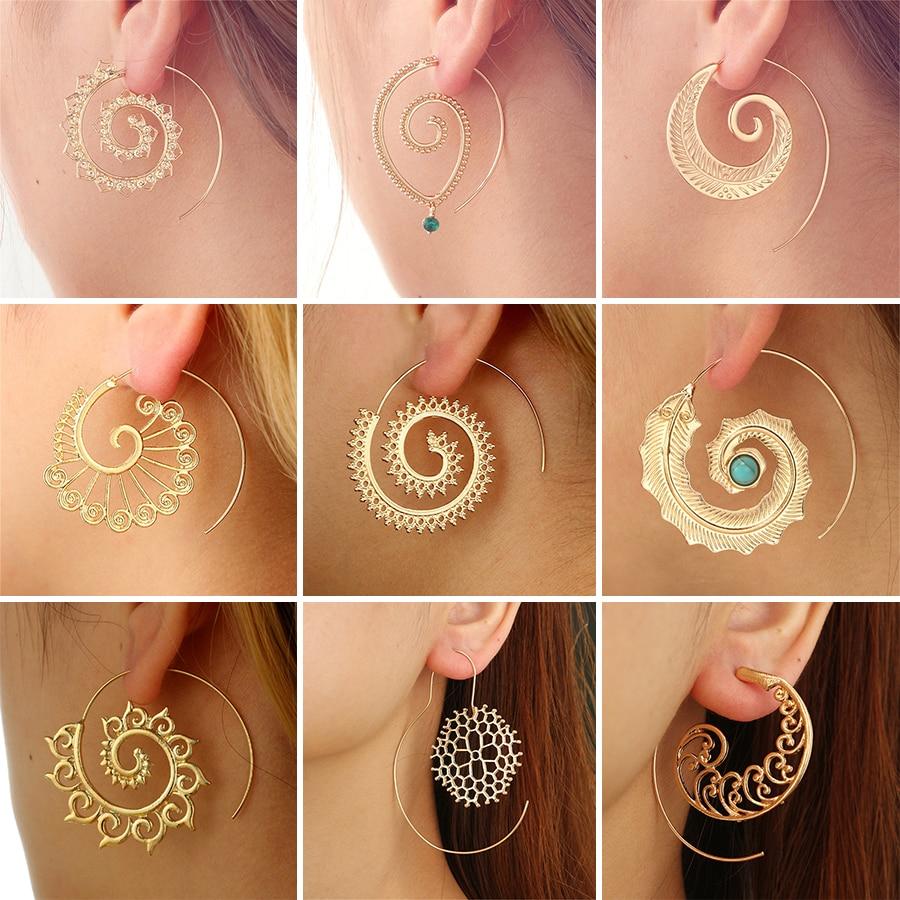 HuaTang Trendy Gold Silver Round Spiral Earrings For Women Brincos Earings Oorbellen Hoop Earrings Alloy Pendientes Earring