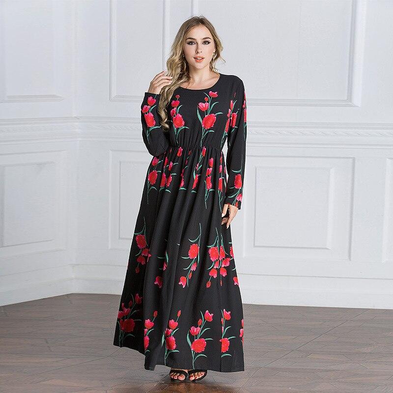 Luxe Vintage imprimé fleurs Dubai Abaya femmes vêtements à manches longues robe de plage o-cou Slim taille robe 5080