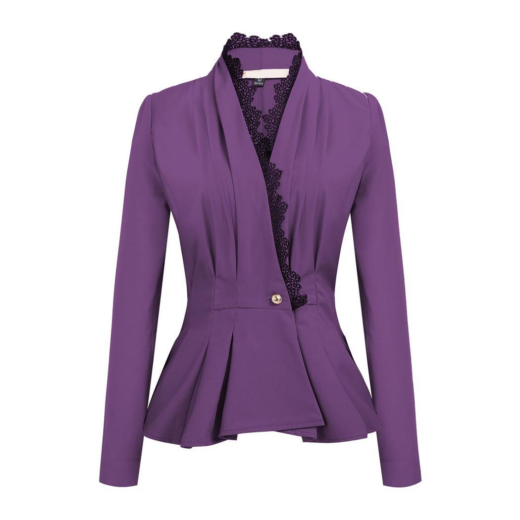 Women Fashion V-Neck Long Sleeve Pleated Button Casual, Office, etc Lace Slim Button, Autumn, Spring Blazer(China)