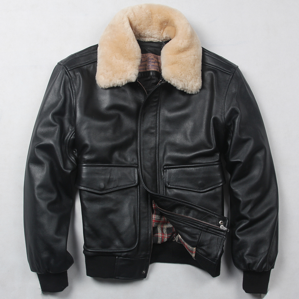 fly air force flight jacket fur collar genuine leather jacket men winter dark brown sheepskin coat pilot bomber jacket