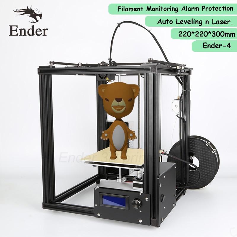 2018 ender-4 3d лазерный принтер, автоматическое выравнивание, нити мониторинга сигнализации полная защита Рамки Prusa i3 алюминия 3D Принтер Комплек...