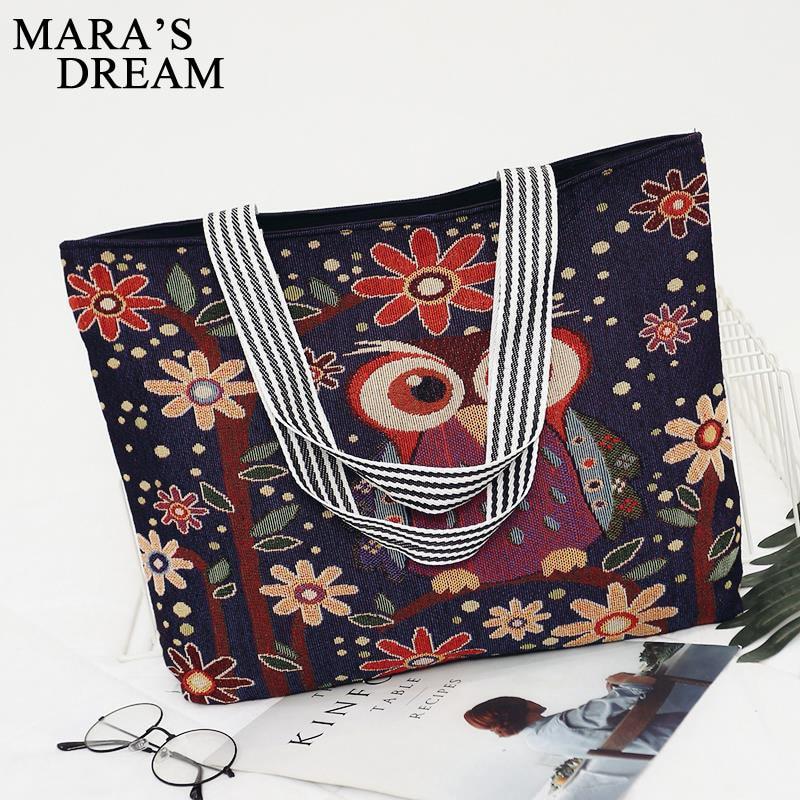 Mara's Dream Women Bag Women's Canvas Handbag Embroidery Owl Tote Lady Shopping Bag Shoulder Bags 2018 Summer Holiday Beach Bags 4