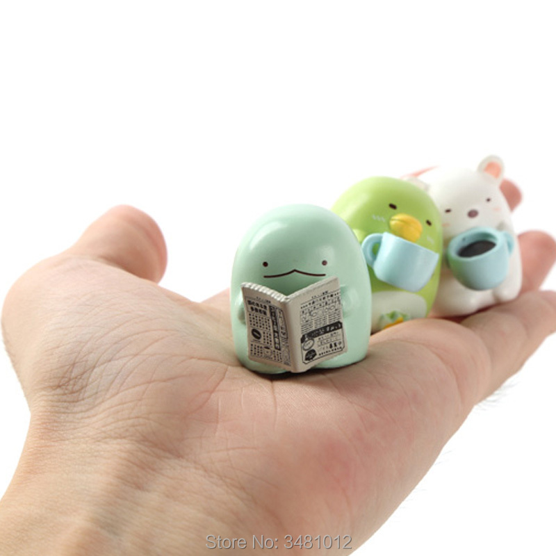 8pcs Kawaii Sumikko gurashi Miniature PVC Action Figures Penguin Polar bear Lizard Figurines Animal Dolls Kids Toys For Children