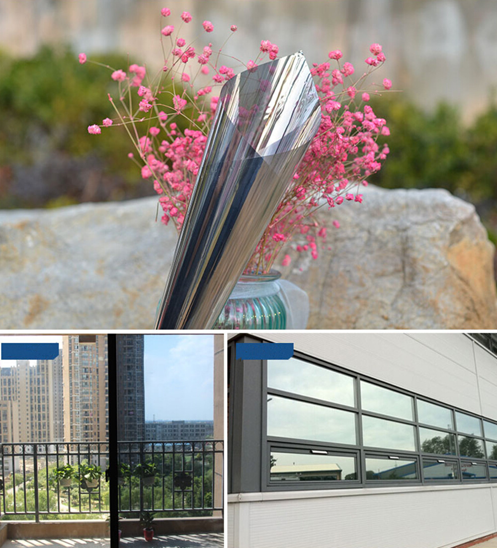 Image 2 - 50cm x 600cm One Way Mirrored Window Film Solar Reflective Silver Layer Tint Room Building DecorDecorative Films   -