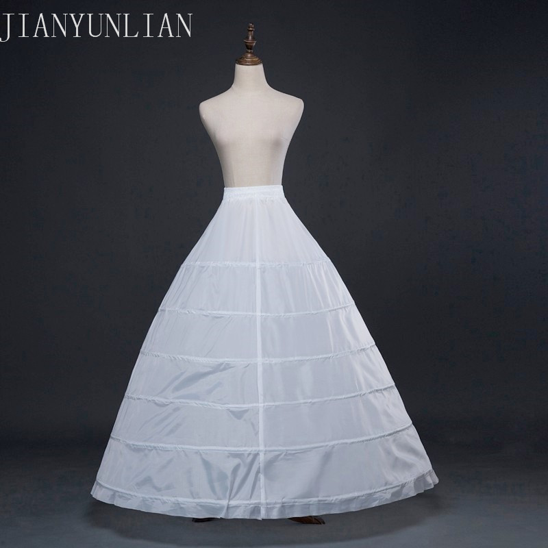 6 Hoop Bridal Petticoat Free Shipping A Line Ball Gown Petticoats Floor Lenght Petticoats For Wedding Dress White Petticoat