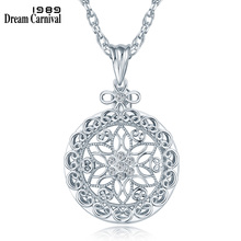 DreamCarnival 1989 Long Necklace Romantic Crystals Rose Pierced Cover Rhodium or Gold-color Pendant Magnifier Gift for Mother цена в Москве и Питере