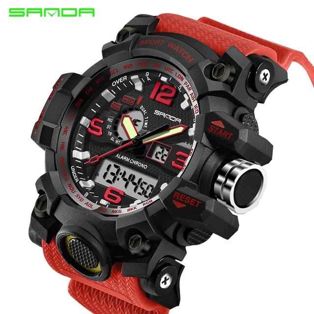 SANDA military watch waterproof sports watches men's LED digital watch top brand luxury clock camping diving relogio masculino 4