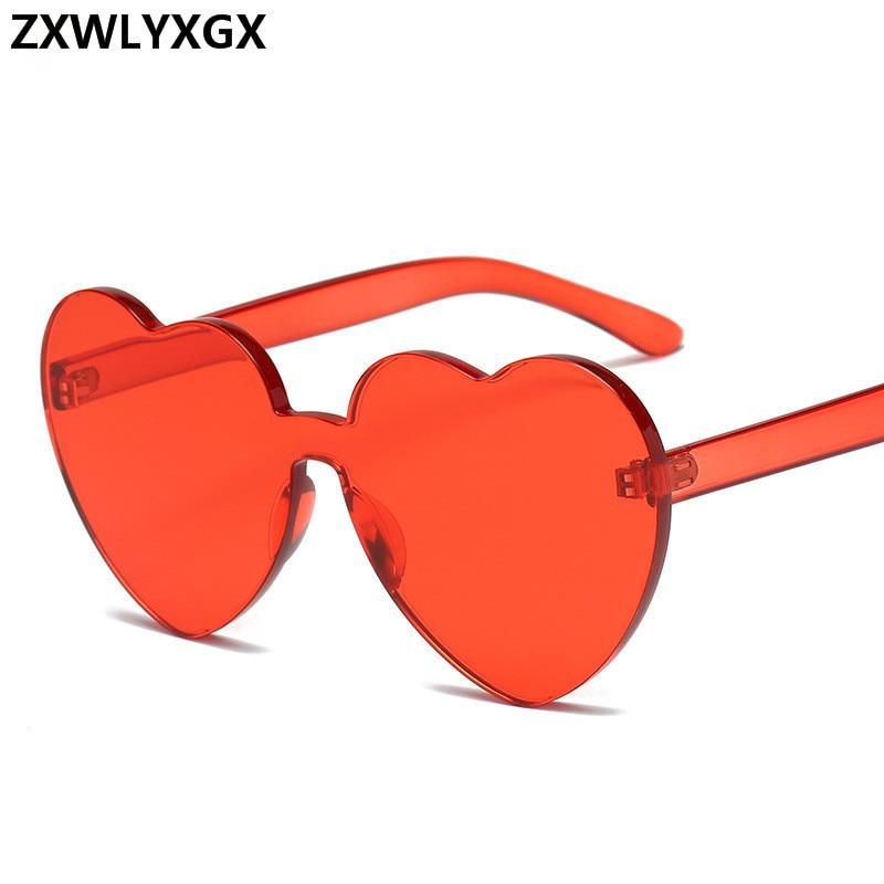 New Fashion cute sexy retro Love Heart Rimless Sunglasses Women Luxury Brand Designer Sun glasses