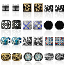 Enamel Cufflinks Whoelsale Golden Wedding-Sliver Classic Men's High-Quality French Retail