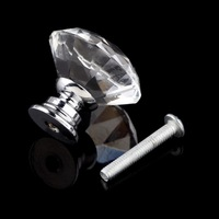 1pack 10 Pcs 30mm Diamond Shape Crystal Glass Drawer Cabinet Knob Pull Handle Kitchen Door Wardrobe