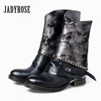 JADY ROSE Autumn Women Ankle Boots Genuine Leather Side Zipper Flat Booties Botas Militares Female Martin Boots Botines Mujer