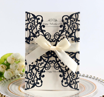 Glittery Wedding Invitations Laser Cut Invites Cards with Bow Envelopes Customizable Printing Free Shipping Party Supplies 50pcs