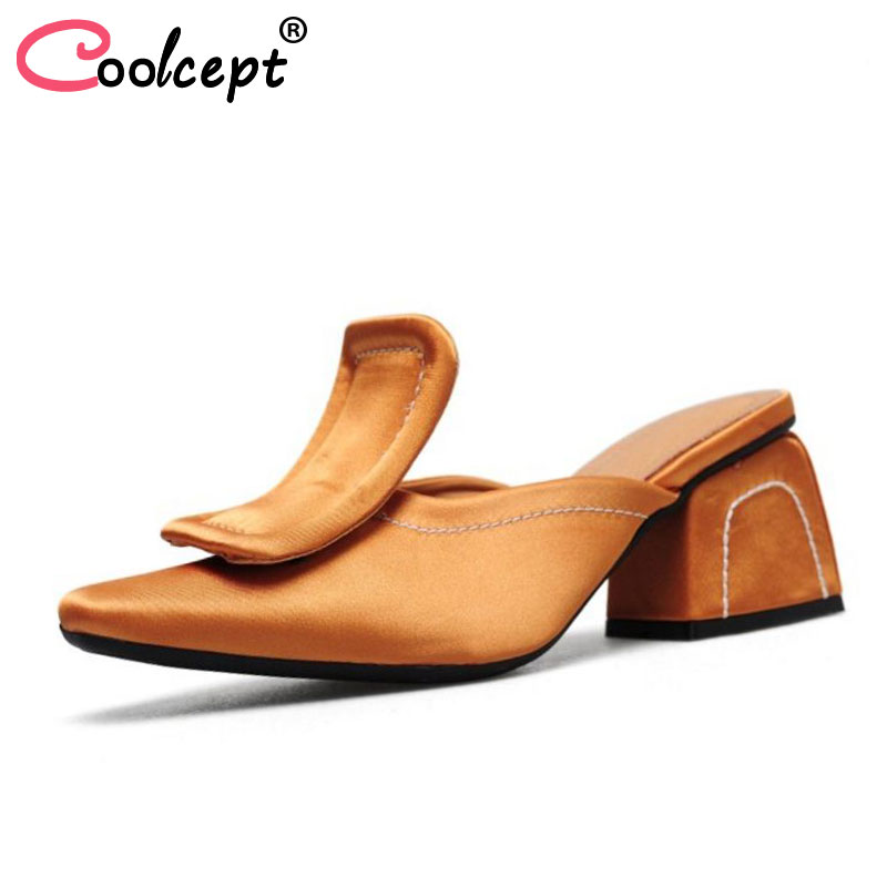 Coolcept Women Genuine Leather High Heel Sandals Round Toe Slip On Fashion Sexy Women Summer Shoes For Club Footwear Size 33-42 fujin brand 2018 summer shoes for women platform sandals with high heel lady leather shoes footwear pink leather slip on sandals