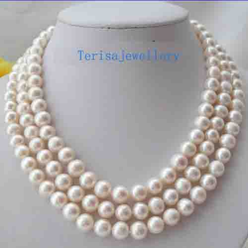 Stunning 3 Rows 9-10mm Round White Freshwater Cultured Pearls Necklace,Genuine Pearl Jewellery,18-20inches,New Free ShippingStunning 3 Rows 9-10mm Round White Freshwater Cultured Pearls Necklace,Genuine Pearl Jewellery,18-20inches,New Free Shipping