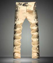 Мода Нового прибытия мужчины Змея Зерно печати джинсы мода slim карандаш брюки