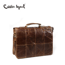Cobbler Legend 2018 Men's Business Bag Brand Genuine Leather Male Vintage Shoulder Bags Luxury Leather Handbag Men Crossbody Bag(China)