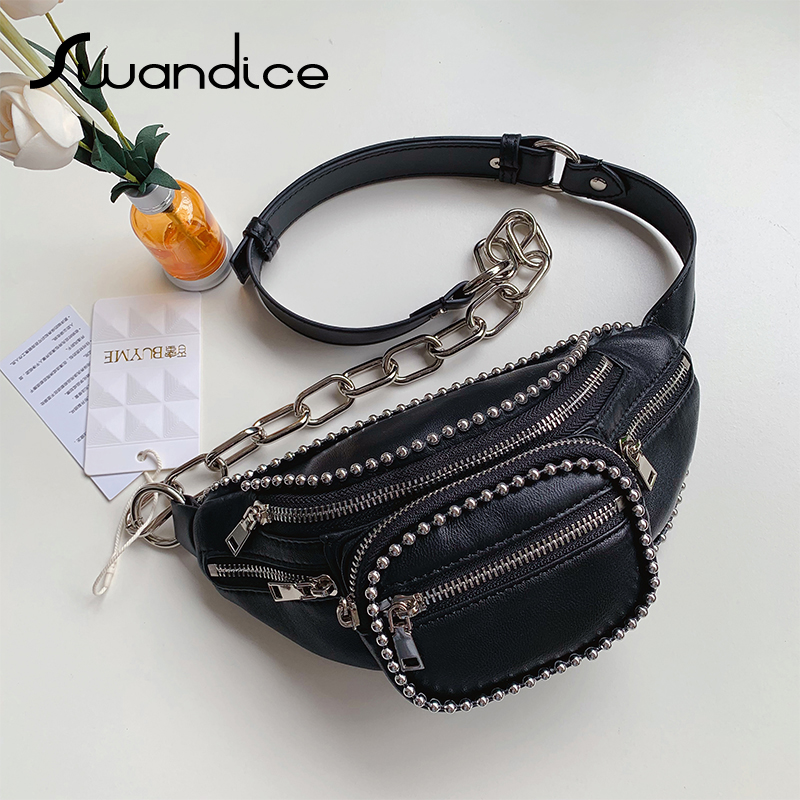 Real Lambskin Genuine Leather Ball Chain Fanny Packs Small Mini Chest Waist Bum Belt Crossbody Shoulder Bags 2019 Women Female-in Waist Packs from Luggage & Bags    1