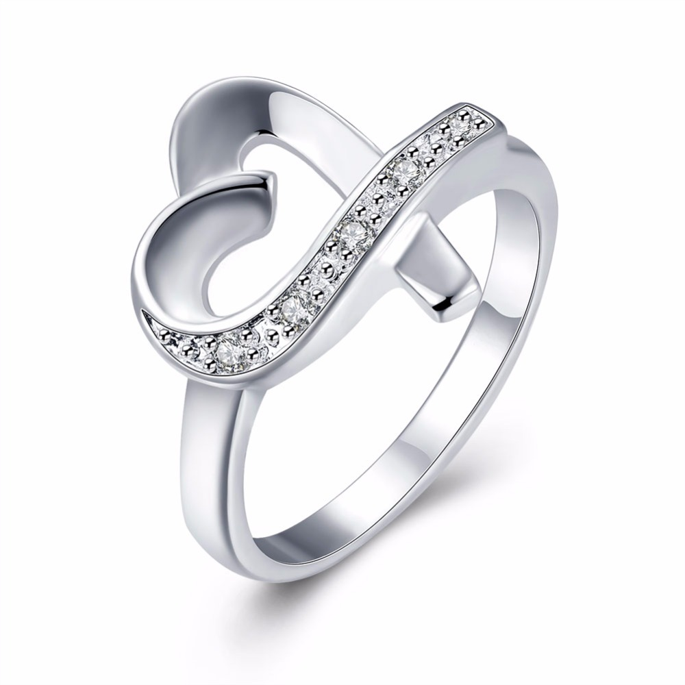 2016 Sale 925 Stamped Silver Plated Rings Heart Love Zircon Cz Simulated  Diamonds Fashion Acessories Ring