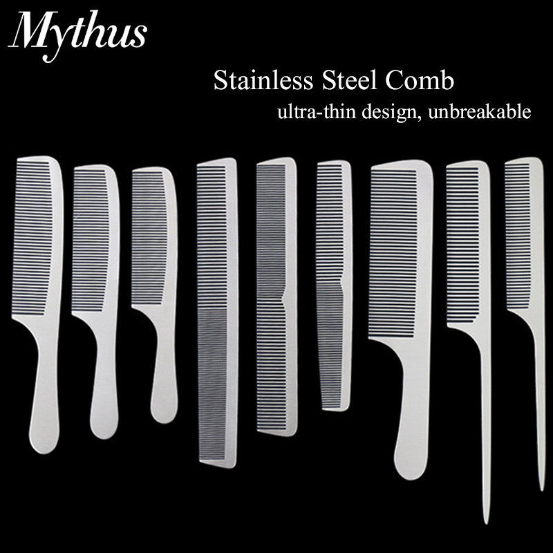 Stainless Steel Silver Metal Barber Comb Professional Hairdressing Salon Combs Detangling Hair Cutting Tools For Men And Women