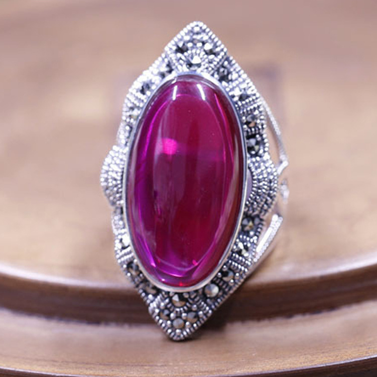 The explosion of 925 sterling silver ring inlaid silver red corundum retro original lady pure silver ring wholesale the realm of clans anime ling yu qinlie 925 sterling silver ring comics cartoon