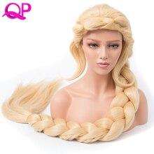 Qp волосы прямые Косплей принцессы 3X Плетеный удлиненная 140 см русый цвет Синтетический Длинные Briad парик