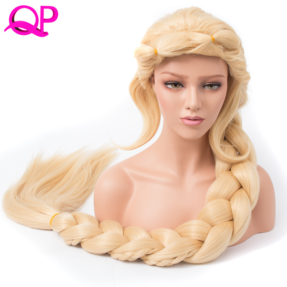 Qp Hair Straight Cosplay Princess 3X Braided Extra Long 140cm Blonde Color Synthetic long briad Wig