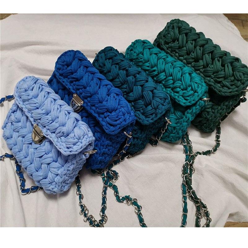 New Hot Online Celebrity Ins Woven Knitting Handbag Women Flaps Shoulder Messenger Bag Cotton Fabric Handmade Plait Bag