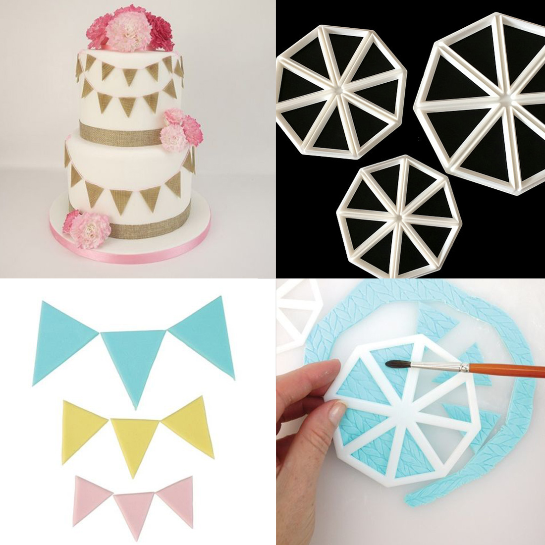 Cute 3Pcs/set Triangle Flag Cutter Mold Cake Side ...