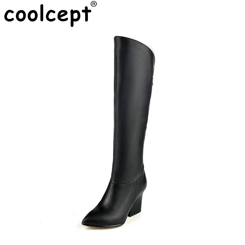 women real genuine leather high heels over knee boots sexy long boot winter warm botas militares footwear shoes R7494 size 33-40  цены