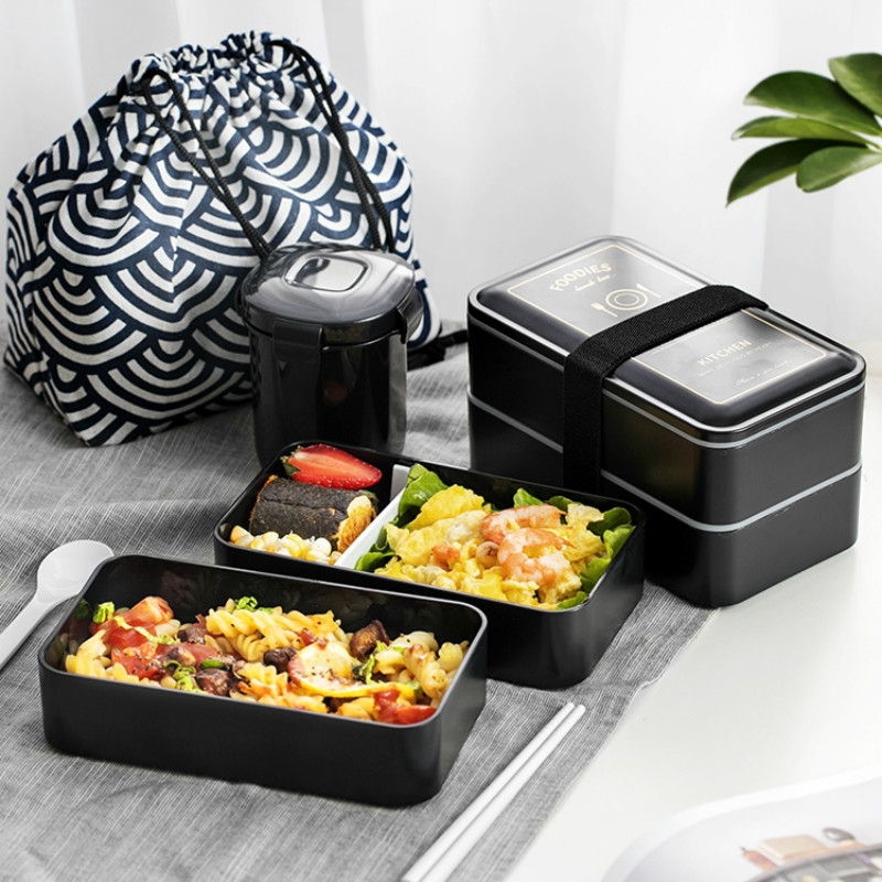 1200ML Japanese Lunch Box Microwavable Food Container Double Layer Portable Bento Box  With Compartments Leakproof BPA Free