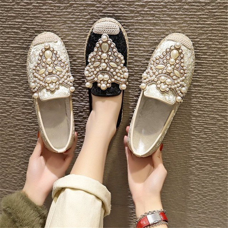 New Flat Shoes Women Fisherman Loafers with Pearl Decor Spring Summer Breathable Mesh Slip-on Casual Footwear Ladies Stylish 1