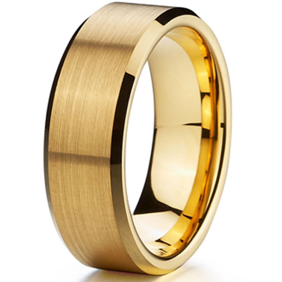 8mm gold color male titanium ring men womens jewelry wedding band promise anniversary fashion finger rings anel