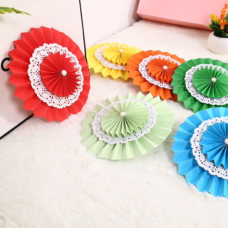 Zilue 10pcs / lot 8inch (20cm) Dobbeltslag Paper Fans Flodable Flower Fan Bryllup Bursdagsfest Baby Shower Party Decoration