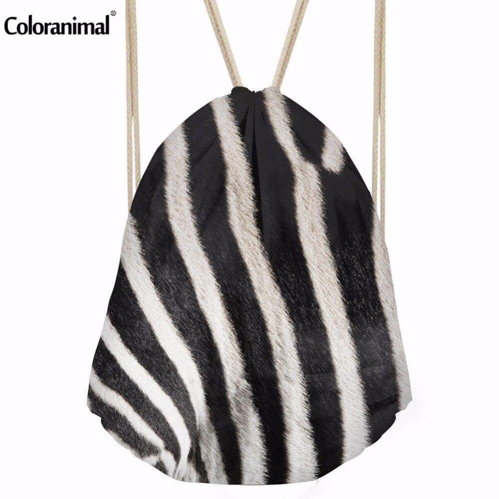 Coloranimal Novelty Design Stripe Leopard Printing Drawstring Bag Feminina Backpack Mochilas Casual Daily Shopping Bag Shoe Bags