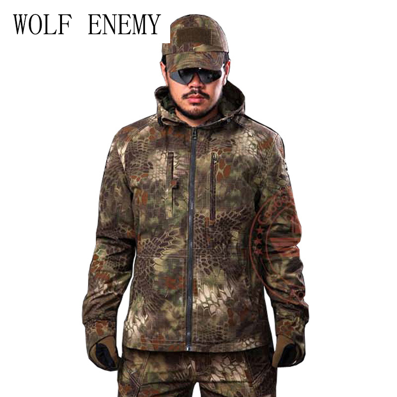 Python Grain Camouflage Hunting Jacket Mens Tactical Airsoft Paintball Camping Outdoor Sports Coat overcoat 51783 camo shooter jacket and pants mens python grain military hunting paintball camping airsoft paintball tactical sports set