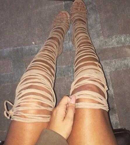 Big Size 10 Hottest Beige Black Suede Leather Over The Knee Strappy Sandals Boots High Heel Cut-out Women Gladiator Boots