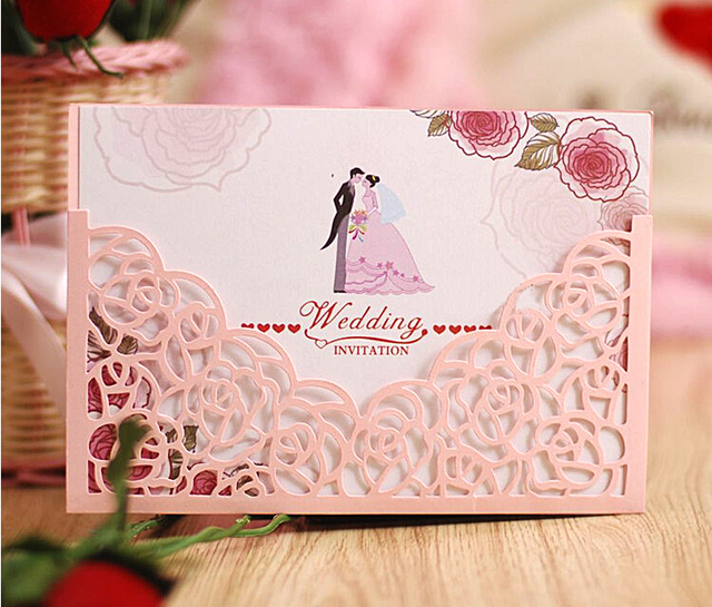 Laser cut rose flower love heart style invitation card sleeves laser cut rose flower love heart style invitation card sleeves party menu pocket mightylinksfo