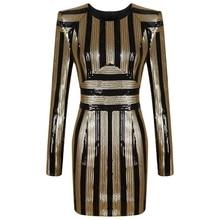 INDRESSME Fashion Sequined Striped Winter Women Party Dress Sexy Mini O Neck Full Sleeve Bodycon Women Dress Vestidos 2018